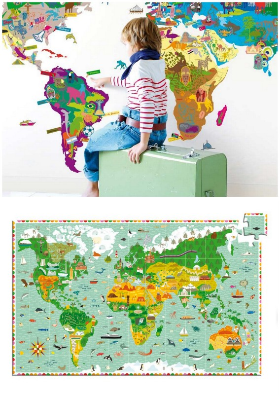 world map for kids, wall map, wall sticker map, puzzle map of the world