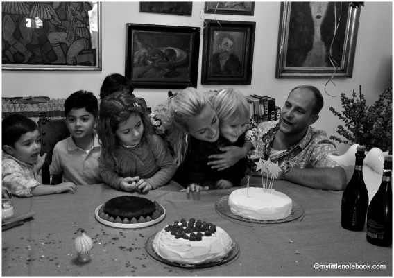 birthday cake with family and friends