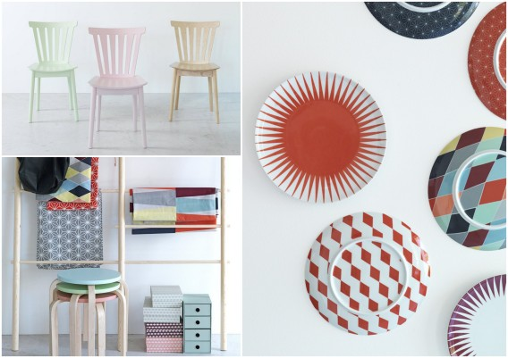 colorful plates and chairs at Ikea - Brakig collection