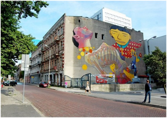 lodz in poland and street art on buildings