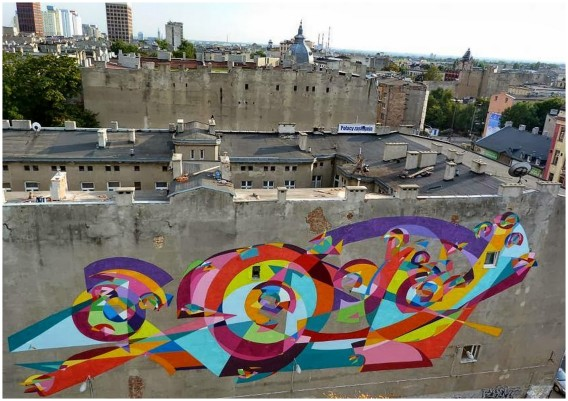 lodz in poland and street art buildings