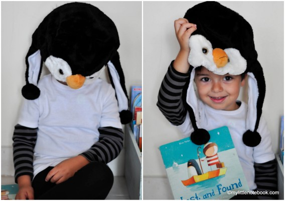 lost and found and penguin costume for world book day