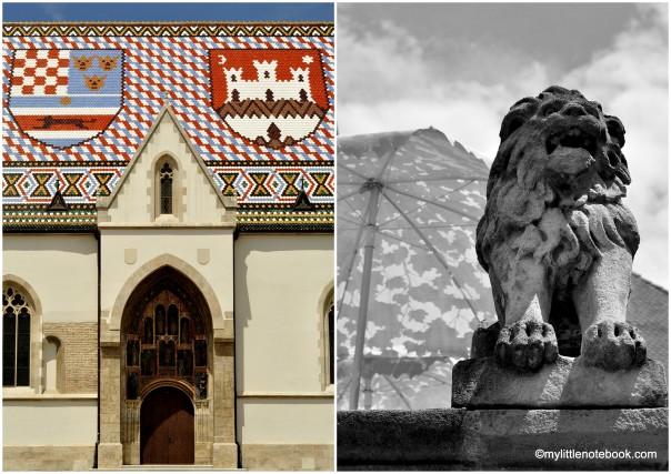 Lion statues in Upper Town Zagreb (Gornji grad)