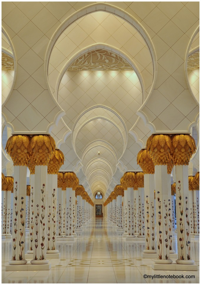 interior of sheikh zayed mosque with gold