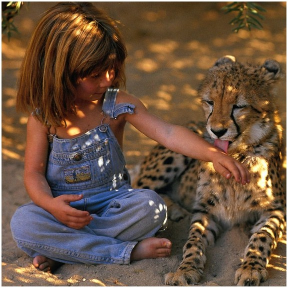 girl with leopard