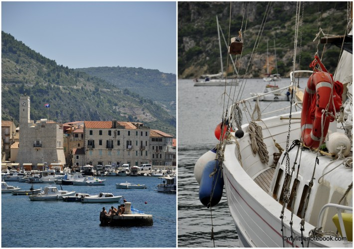 Komiza fishing port on Vis island in Croatia with small boats