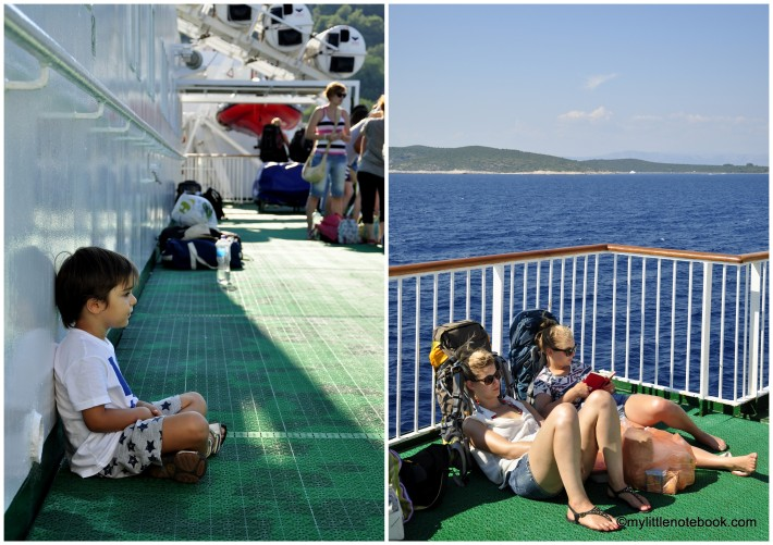 tourists on a ferry to island Vis in Croatia