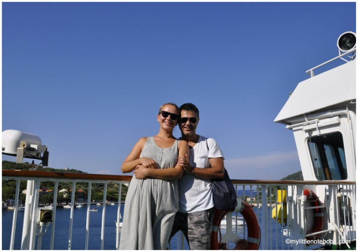 husband and wife on a ferry to Vis island in Croatia