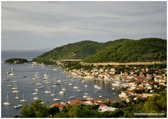 Spectacular view of Vis harbour and Adriatic sea in Croatia