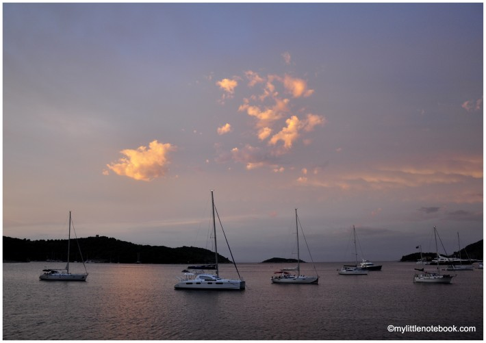 pastel hues of sunset on Vis island