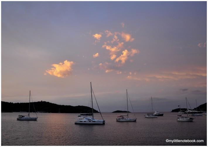 pastel hues of sunset on Vis island