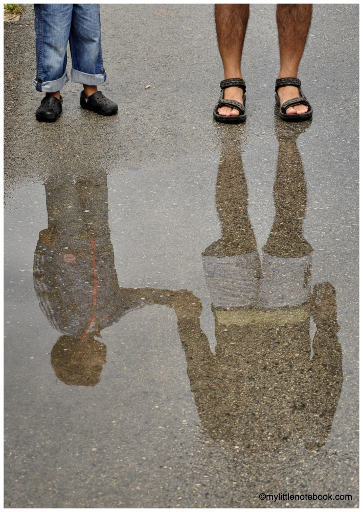 photo of father and son holding hands and their reflection on the water