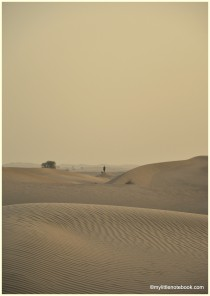 a man walking his dog in the desert of UAE