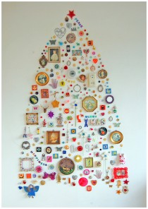 collected ornaments for an alternative christmas tree in bohemian style