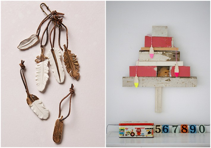 alternative christmas tree and feather ornaments for christmas