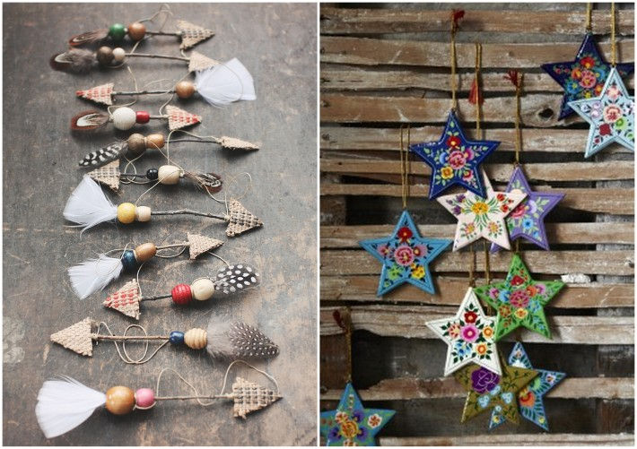 bohemian ornaments for christmas  tree, stars, feather