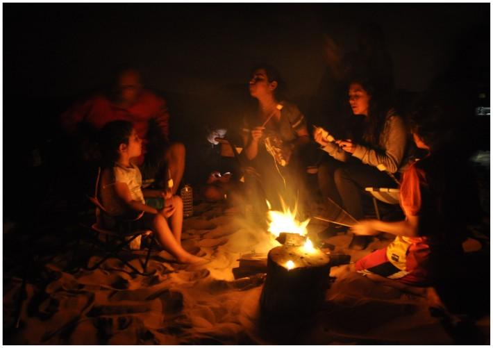 bonfire in a desert
