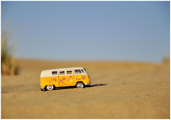 hippie van in a desert