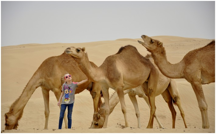 girls talking to camels