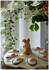 Carrot cake decorated for Easter