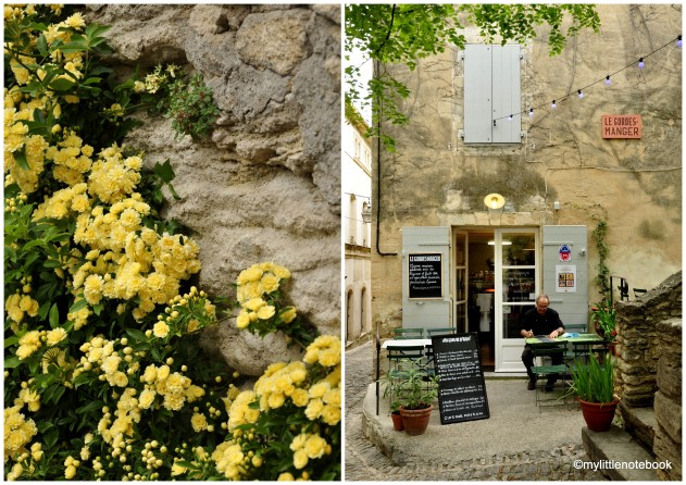 gordes in france and yellow flowers